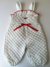 Evy Of California Vintage Infant Baby Girl's Quilted Eyelet Overalls 0-6 Months