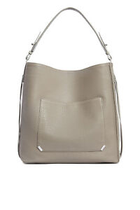 AllSaints Taupe Silver Pebble Leather Large North South Hobo Tote $378- #960