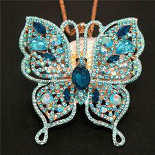 New Blue Bling Rhinestone Flower Butterfly Pendant Betsey Johnson Chain Necklace