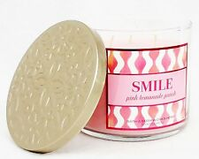 1 Bath & Body Works SMILE - PINK LEMONADE PUNCH  3-Wick Filled Candle 14.5 oz