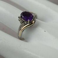 Dallas Prince Amethyst Diamond Sterling Silver 925 10K Size 6.75 Ring By AV