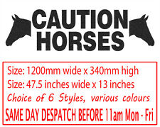 Caution Horses Horsebox Trailer Vinyl Lettering Stickers Signs Decals Graphics