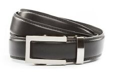 Anson Belt & Buckle. Mens traditional silver buckle with black leather strap