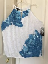Women INC International Concepts Lapis Lazuli Tie-Dyed Keyhole Halter Top Sz XL