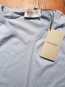 JOHN SMEDLEY PISA Men Dusk Blue 100% Cotton Pullover Size Medium BNWT RRP £150