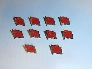 Wholesale Lot of 10 China Flag Lapel Pin, Brass Finish, BRAND NEW