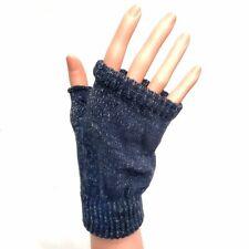 Dark Blue Fingerless Gloves With Sparkle Flecks - Winter Gloves Christmas Gift