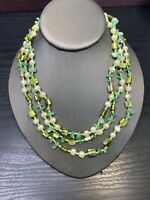 Vintage Bohemian Three strand seed Bead Pearl Green Stone Mop Beaded necklace 18