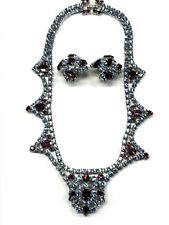 Vintage B. David Blue Purple Rhinestone Statement Necklace Earrings Set