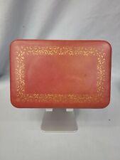 Vintage Mid Century Farrington Jewelry Box Genuine Texol Pink with Gold Filigree