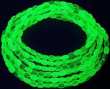 """Yellow Uranium Vaseline Glass Beaded AB Aurora Borealis Necklace 53"""" Long"""