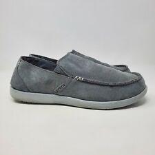 Crocs Men's Santa Cruz Gray Suede Slip On Shoes Loafers Sz 12
