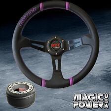 350mm Black Deep Dish Steering Wheel & Hub Adapter CRV 1997-2014 Purple Stitchin