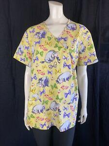 Disney Eeyore Oh, Bow is me! Scrub Shirt, Women's Size Large
