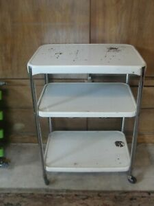 VINTAGE mid century METAL ROLLING KITCHEN CART. BAR CART SERVING CART.COSCO.