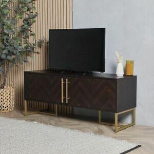 Dark Wood TV Unit Table Console Storage Door Cabinet Media Center Entertainment