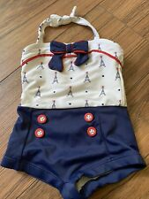 Janie And Jack Girls 6-12 Month Vintage Style Paris Bathing Suit One Piece
