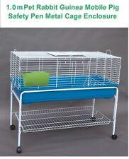 Pet Rabbit Guinea Pig Mobile Safety Pen Hutch House Metal Cage Enclosure 1.0m