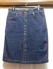 BASS & Co. Heritage Denim 1% Spandex Dark Denim Button Front Short SKIRT size 4