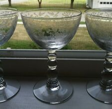 Duncan & Miller First Love Liquor Cocktail Etched 1935-55, 3 Ball Stems Set Of 5