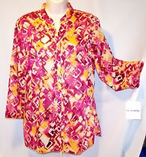 NEW $58 Tag BRECKENRIDGE Reflections LARGE Blouse Top MANDARIN COLLAR ¾ Sleeves