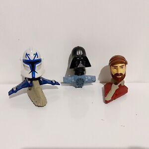 3 x The Clone Wars Star Wars 2008 McDonalds Bobble Head Toy Lot Bundle