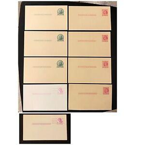 9 UNUSED US Postal Cards 3x1914 Jefferson 1¢~4x1951 Franklin 2¢~1962 Lincoln 4¢