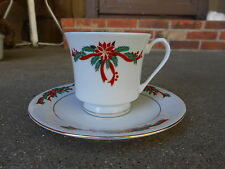 Christmas Poinsettia & Ribbons CUP and SAUCER  Fine China  Md in China