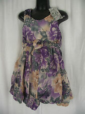 BNWT Girls Sz 6 Bubble Hem Sleeveless Purple and Cream Fully Lined Party Dress