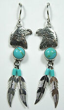 Kingman Turquoise 925 Sterling Silver Eagle & Feather Earrings - made in USA