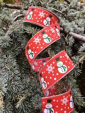 """Snowman Ribbon~Winter snowflakes~Snow Ribbon~ Red 1.5"""" Wired Edge 25 Ft"""