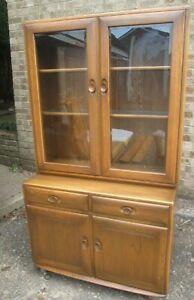 Ercol Windsor Elm 2 Door display Cabinet On Cupboard Base Fruit Wood Finish