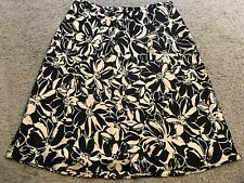 ANN TAYLOR Gold Black Floral Silk Knee Length Casual Skirt womens 10