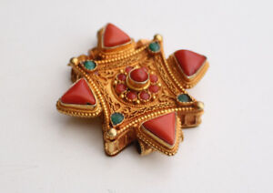Gold Plated Silver Sterling Double Dorjee Tibetan Ghau Pendant with Coral Stone