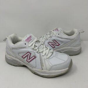 New Balance WX608v3P Womens White and Pink Training Sneaker 6.5B