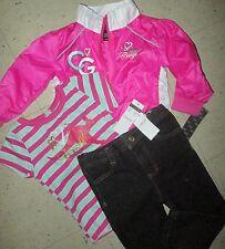 COOGI SWAG Windbreaker Jacket Jeans Shirt 3 pcs Outfit Set Sz 24M PINK GREEN