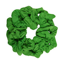 Twelve Soft Cotton Scrunchies Stretchy Kelly Green Hair Twisters Ponytail Holder