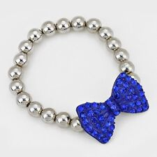 Fashion Blue Crystal Pave Bow Metal Ball Stretch Bracelet (NWT)
