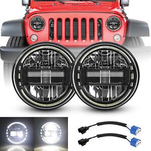 7'' Round 120W LED Headlights Halo DRL For Jeep Wrangler JK TJ JL CJ LJ 97-2020