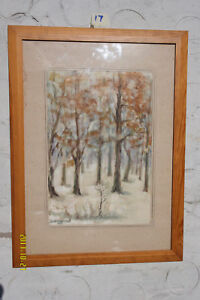 Watercolour painting of Trees in Autumn, circa 1980. - by H. Siwkru??