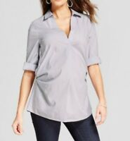 NWT ISABEL Maternity/Ingrid & Isabel Striped Pleated Popover/blouse-Blue/Gray--L