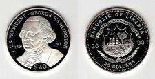 LIBERIA   20 Dollars 2000   US-Präsidenten   George Washington    Silber/PP