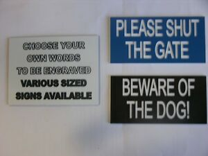 Engraved Laminate Plastic Sign Choose Your Own Wording 50mm x 25mm From Melian