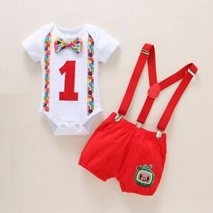 12-18 Boy 1st Birthday Cake Smash Outfit Cocomelon Twin Bodysuit Suspenders