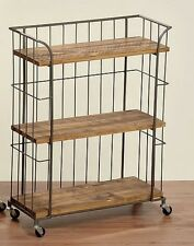 Vintage Industrial Bookcase Wooden Metal Trolley Retro Furniture Storage Cart