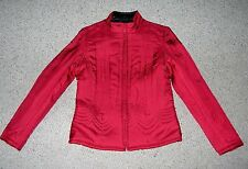 NEW ELEGANT WOMEN'S TRIBAL CHERRY RED 100% SILK QUILTED INSULATED JACKET SIZE 4