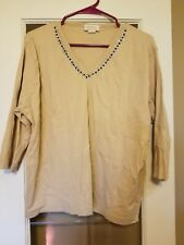 Women Tia Plus Size 1X Long Sleeve Beige V Neck Top with Sequence