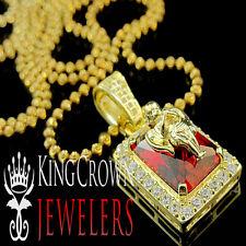 10K Yellow Gold On Silver Praying Angel Lab Diamond Red Ruby Mini Pendant+ Chain