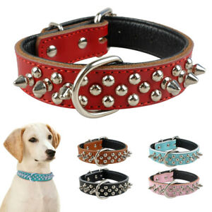 Spiked Studded Dog Collars Soft PU Leather for Small Medium Dogs French Bulldog