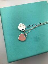Please Return To Tiffany & Co. Pink Enamel Double Hearts Necklace w/Original Box